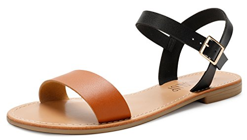 SANDALUP Women's Soft Faux Leather Open Toe and Ankle Strap Buckle Flat...