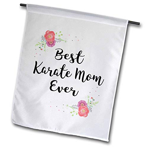 3dRose InspirationzStore - Love Series - Floral Best Karate Mom Ever with Arty Pretty Watercolor Pink Flowers - 12 x 18 inch Garden Flag (fl_311987_1)