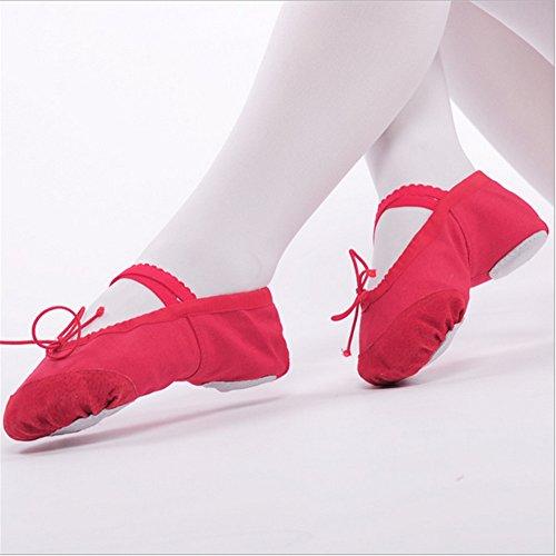 Staychicfashion Lerret Ballett Tøfler Split-såle Dans Flat Gymnastikk Yoga Sko For Kvinner Røde