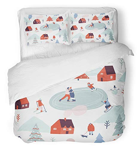 Emvency 3 Piece Duvet Cover Set Breathable Brushed Microfiber Fabric Village Christmas in Winter Season with People are Skiing Ice Skating Sledding Snow Bedding Set with 2 Pillow Covers Twin Size