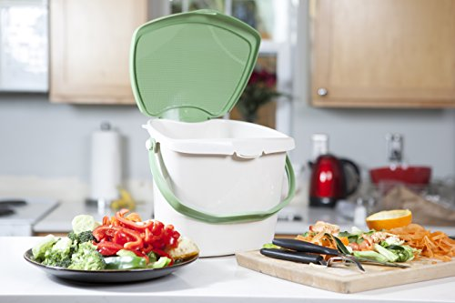 Zero Waste Kitchen Compost Bin - 2 Gallon, Odor Free, Countertop, Under Sink, Dishwasher Safe, Bag and Worm Compatible