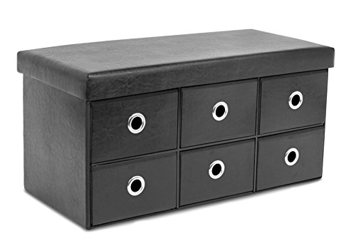 BirdRock Home Storage Bench Ottoman with Drawers – Foldable Storage 6 Cubby Drawer Footstool – Entryway Bedroom Bench – Black