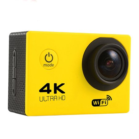Ocamo Waterproof 4K WIFI HD 1080P Sports DV Remote Control Cam Camera Small F60R Camcorder Yellow U.S. regulations