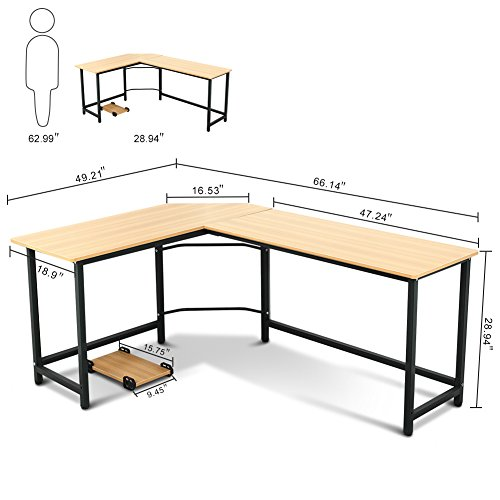 Tribesigns modern l shaped desk corner computer desk pc - Computer and study table designs for home ...