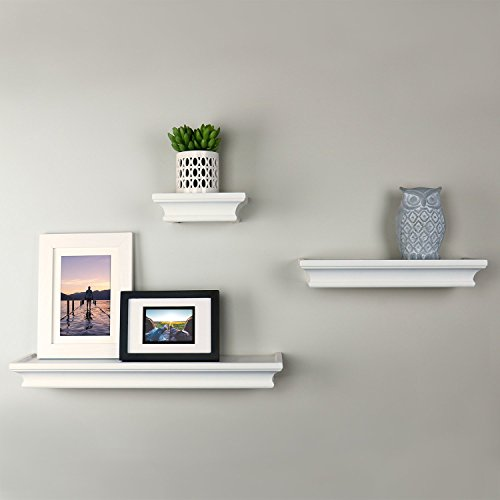 Ballucci Classic Floating Wall Shelves Ledge, Set of 3, Whit