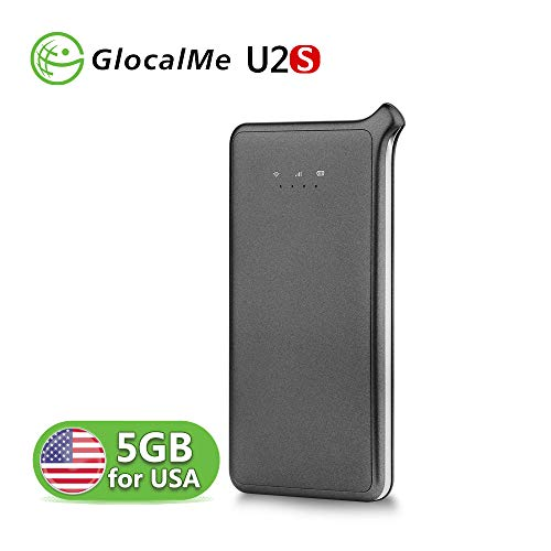 GlocalMe U2S WiFi Hotspot with 5GB Data for USA, Portable 4G MIFI Mobile Pocket WiFi Device International for Travel, No SIM Card Roaming Charges Travel Pocket WiFi Hotspot MIFI Device (Grey)