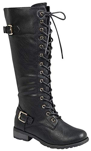 Forever Link Mango 27 Womens Knee High Buckle Riding Boots,Black,9