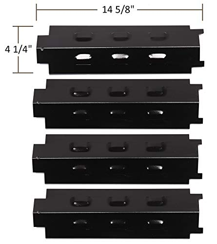 PH8531 (4-pack) Porcelain Steel Heat Plate Replacement for Select Gas Grill Models By Charbroil, Kenmore and Others(14 5/8 x 4 1/4)