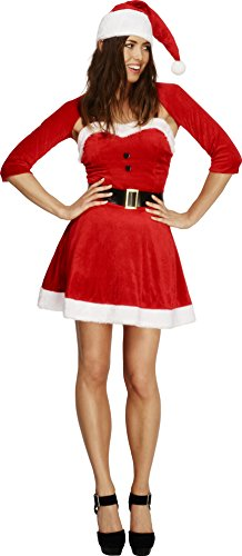Smiffy's Adult Women's Fever Santa Babe Costume, Dress, Hat, Shrug And (Mrs Santa Claus Costume Uk)