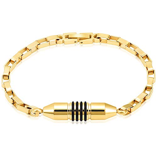 Stainless Steel Cremation Bracelet for Ashes - Cylinder Urn Bangles for Human Ashes - Memorial Ashes Keepsake Jewelry for Men Women (Gold-20cm) (Jewelry Made From Ashes Of Loved Ones)