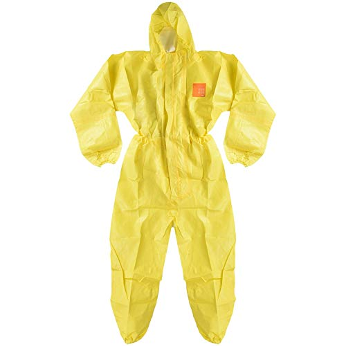 (Chemical liquid protective suit Protective protective film against alkali and protective alkali + Non-woven suit with hood, elastic cuff (yellow) 3000 (XL))
