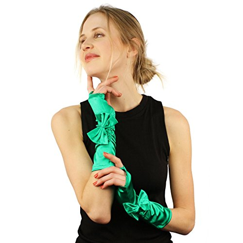 Ribbon Bow Satin Stretchy Fingerless Hook Evening Below Elbow Gloves Green