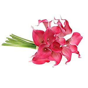 Ewandastore Artificial Calla Lily Bridal Wedding Bouquet 10 head Latex Real Touch Flower Bouquets Hot Pink 2