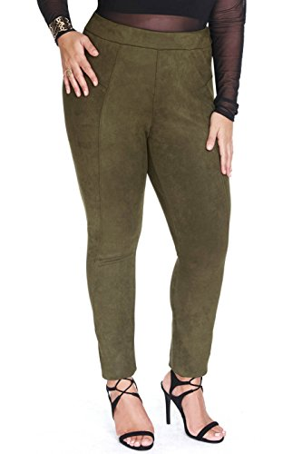 Women's Plus Size Faux Suede Leather Club Pants