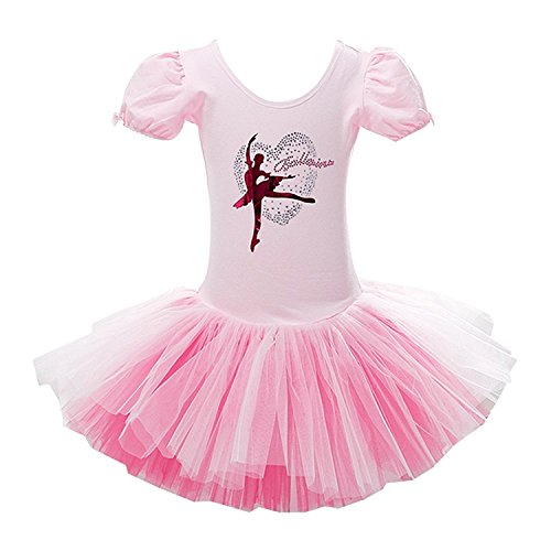 Dance Costumes Tap Dress (Kids Girls Sleeveless Elastic Tulle Ballet Latin Tutu Dance Skirt Dress Costumes for Baby Girls XL)