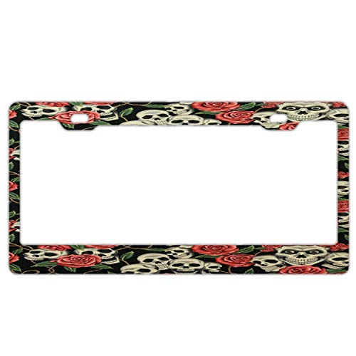Sugar Skull Red Roses License Plate Frame, Car Licenses Plate Covers for Both Front and Back License Tag Stainless Steel Metal License Plate Frame ()