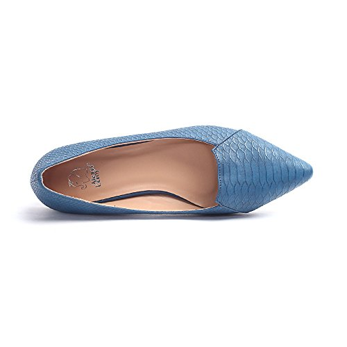 Alexis Leroy - Fashionable Snakeskin Pattern Pointed Toe Low Top Ballet Flats para mujer Azul