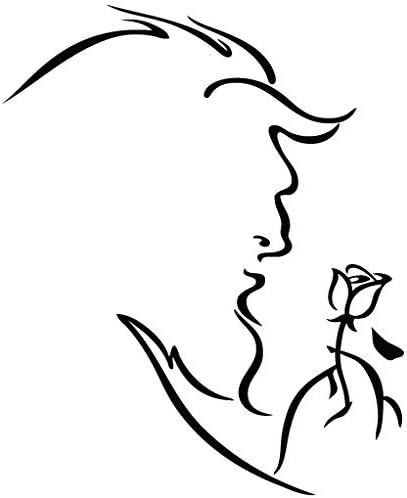 La bella y la bestia rosa - Carcasa de Vinilo [15 cm negro] extraíble de vinilo adhesivo decorativo para pared, COCHE, ipad, Macbook, para portátil, para bicicleta, casco, con ruedas para mover