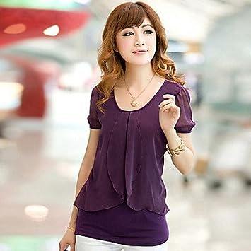 Mujer Camisas y blusas de mujer Casual micro-elastic manga corta Regular Blusa (gasa