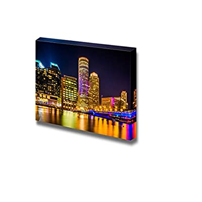 Beautiful Cityscape The Boston Skyline at Night Seen from Fort Point Boston Massachusetts - Canvas Art Wall Art - 24