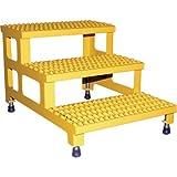 Vestil Adjustable Serrated Step-Mate Stand - 3 Steps, 36in.W x 36in.D, Model# ASP-36-3