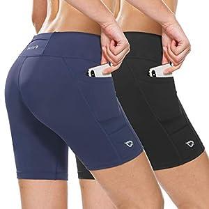 BALEAF Women's 7″ Compression Biker Shorts Pocket Yoga Spandex Running Workout