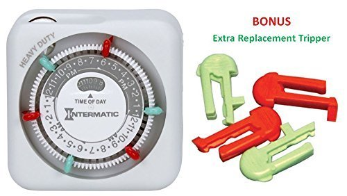 Intermatic TN311 15 Amp Heavy Duty Grounded Timer - with Extra Replacement Tripper (2 Red & 2 Green) Intermatic Heavy Duty Grounded Timer