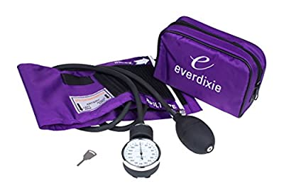 Dixie EMS Purple Deluxe Aneroid Sphygmomanometer Blood Pressure Set W/ Adult Cuff, Nylon Purple Carrying Case And Calibration Key