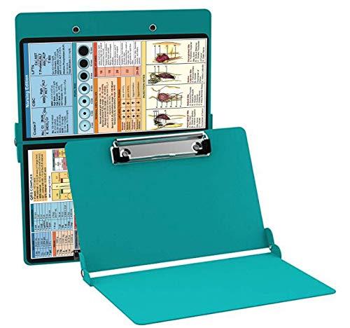 Nursing Clipboard Teal (Aluminum Clipboard Nursing Edition Teal) Folding Clipboard for Nurses, Doctors, Medical Students