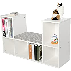 Yosoo Multi-Functional Wooden Storage Shelf Bookshelf Bookcase with Reading Nook Home Office Use Practical New (White)