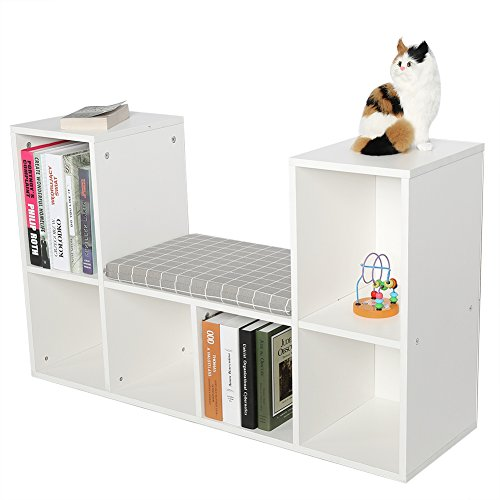 Yosoo Multi-Functional Wooden Storage Shelf Bookshelf Bookcase with Reading Nook Home Office Use Practical New (White) ()