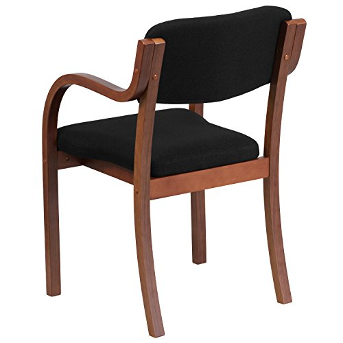 Flash Furniture Contemporary Fabric Wood Side Chair with Walnut Frame, Black