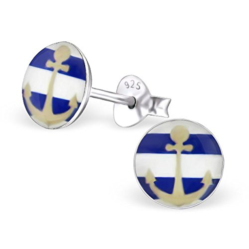 Anchor Navy Earrings Round Studs Posts Logo Girls Sterling Silver 925 (E24470) - Nordstrom Sterling Silver Ring
