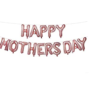 Happy Mother's Day Balloon Banner Aluminum Foil Balloon Set 16 Inches Letter Balloon Decoration for Mother's Day Party…