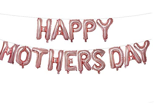 Happy Mother's Day Aluminum Foil Balloon Set 16 Inches Letter Balloon Decoration for Mother's Day Party (Rose Gold)