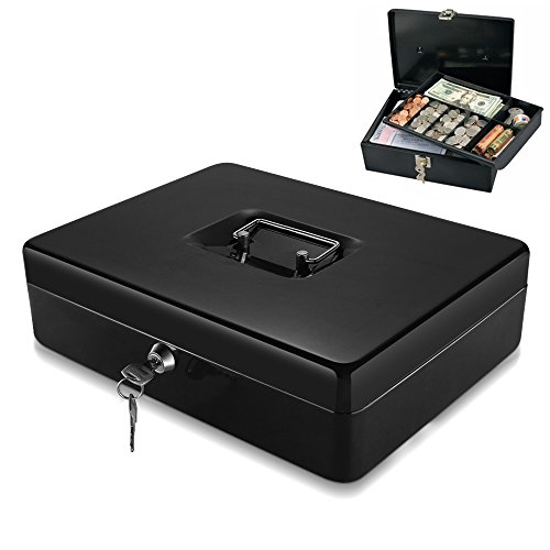 Flexzion Cash Box with Money Tray Coin Slot, Security Lock Box with Removable 9 Compartment Tray Steel Construction Cashier Drawer Money Safe Storage for Currency Bill Check Jewelry, Small (Bill Cash Tray)