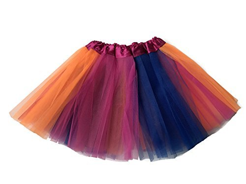 Rush Dance Colorful Kids Girls Ballerina Dress-Up Princess Costume Recital Tutu (One Size, Hot Pink, Orange & Royal Blue (Troll Costume For Toddler)