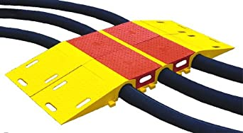 "Diamondback UHB3035T Polyurethane Modular Bridge System Tunnel for 3.5"" Hose Lines, Yellow , 6.5"" Length, 16"" Width, 4.63"" Height"
