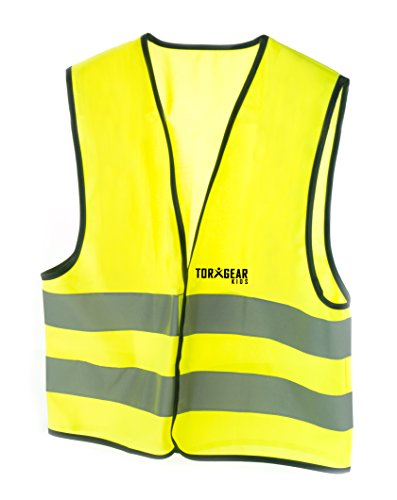 TorxGear Kids, Child Safety Vest, Children's Hi-Vis Apparel, 2 Reflective Stripes Pack of 1  size 3 Years to 10 Years