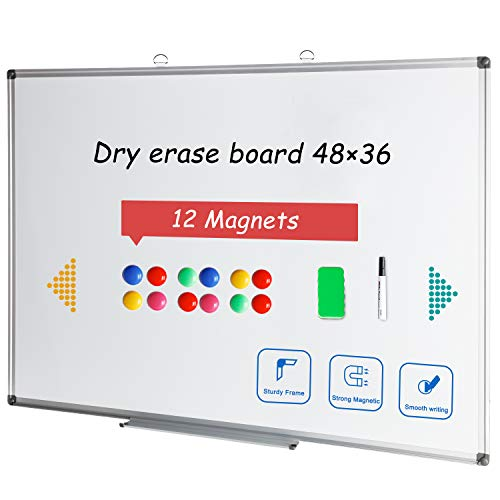 (48x36 Large Magnetic Dry Erase Board Whiteboard for Wall Aluminium Framed Message White Board for Office Kids Student)