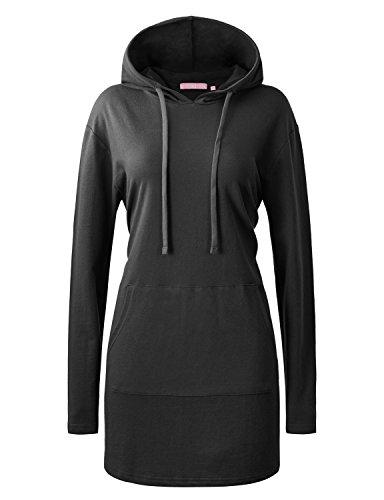 Regna X Womens Cotton Slim Fit Midi Long Sleeve Hoodie Tunic top Black 3XL