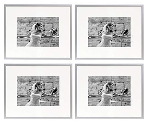 Golden State Art Set of Four, 8x10 Silver Aluminum Photo Frame with Ivory Color Mat for 5x7 Picture, Real Glass & Table-top Display, Metal Wall Photo Frame Collection