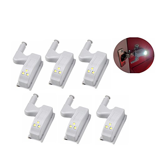 LightInTheBox Cabinet Hinge Night Light Battered LED Sensor Night LightWardrobe Cupboard Door Auto Switch Pack of 6pcs by LightInTheBox