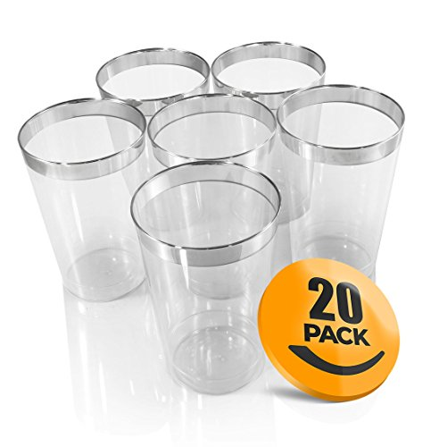 Croft & Colony 20-Pack Fancy Plastic Cups - Plastic Tumblers For Your Party, Wedding, Bachelorette Party, or Other Event (Lines Silver Many)