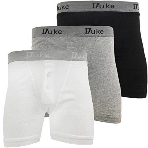Duke Boxer (Duke London Men's Boxer Pack Of 3 Small - W28 Black / White / Grey)