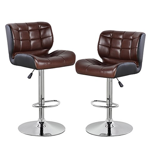 (eurosports Adjustable Counter Height Bar Stools Set of 2,PU Leather Modern Swivel Barstools with Back,Brown and Black)