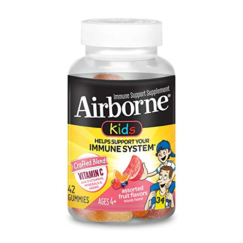 Airborne Kids Gummies Vitamin C Immune Support Supplement, Assorted Fruit Flavors, 42 ct (Pack of 1)