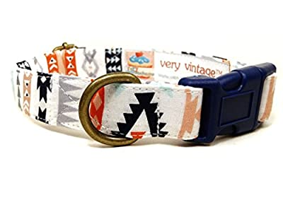 Sacred Ground - White Coral Mint Navy Blue Southwestern South West Bohemian Organic Cotton Pet Collar - Handmade in the USA