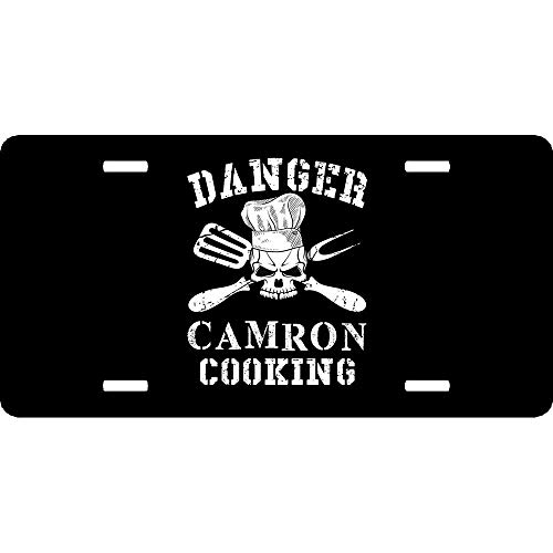 Custom License Plates Danger Camron Cooking, Auto Truck Car Front Tag Aluminum Metal License Plate Frame Cover 12 x 6 Inch
