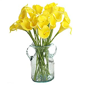 Packozy 20 Pcs Artificial Flower Calla Lily Bridal Wedding Bouquet Lataex Bouquets 14.17″ for Home Party Decor(Yellow)